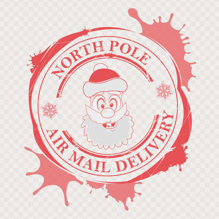 Christmas print with a funny Santa Claus face and big blots, design element.