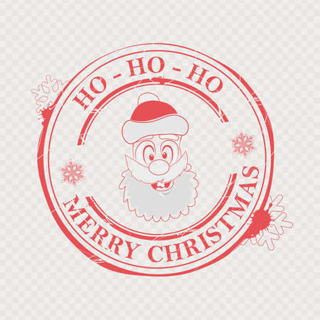 Christmas stamp with funny Santa Claus face and text, design element.