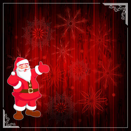 Christmas dark red composition with silhouette of a wooden shield, white frame and Santa claus with a set of snowflakes. Illustration