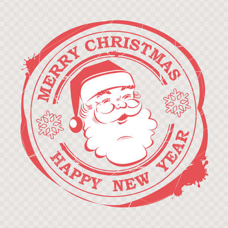 Christmas red sign stamped with a cute Santa Claus face with text and snowflakes. Illustration