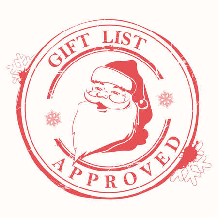 Christmas stamp with stains, blots and a silhouette of the head of Santa Claus