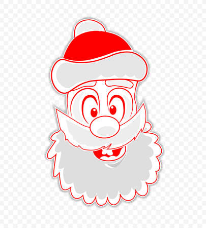 Christmas drawing of a funny, funny face of Santa Claus, design element.