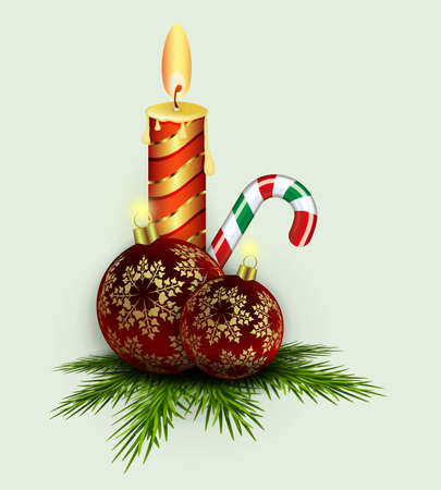 Christmas arrangement of spruce green branches, staff and a burning candle, design element. Ilustração