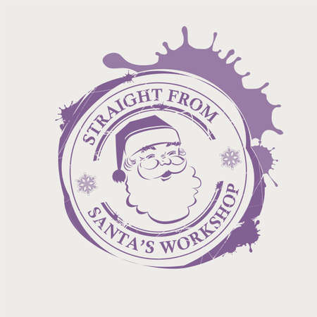 Christmas violet print with Santa Claus face with big blots
