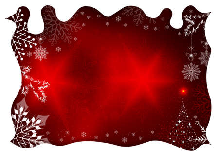 Christmas design with white curly frame, silhouette of snowflakes and abstract Christmas tree.