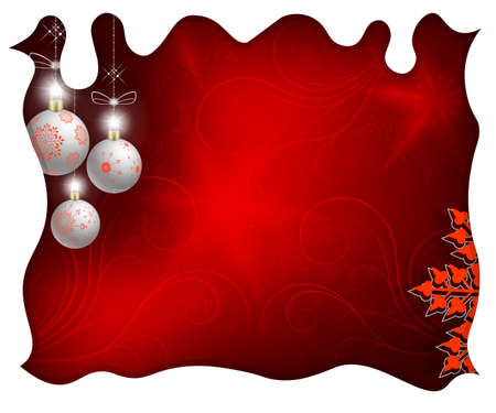 Christmas design with white balls, white curly frame and graceful snowflakes with a pattern. Stock Photo