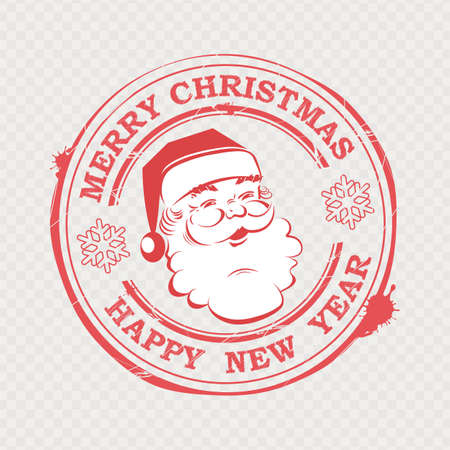 Christmas stamp with silhouette of cute Santa Claus with text and snowflakes