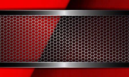 Diseño geométrico abstracto en relieve rojo con marco de malla metálica.