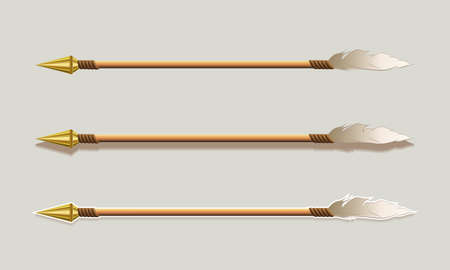 Arrow with a golden arrowhead and plumage, set, design element.