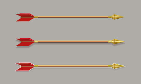 Figure arrows with a gold tip and red plumage, set, design element.