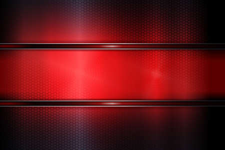 Red dark abstract background with grid and improvised shiny frame.