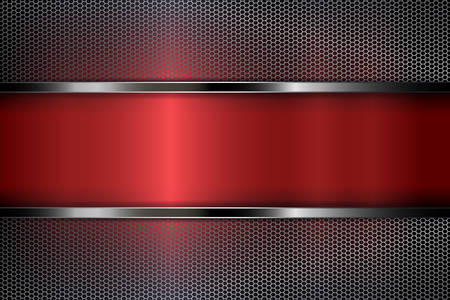 Conception géométrique abstraite rouge foncé avec une grille en maille métallique.