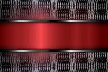 Diseño geométrico abstracto rojo oscuro con una rejilla de malla metálica.