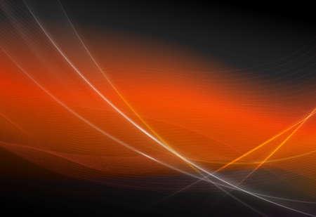Oranje abstracte achtergrond met gladde dunne lijnen en een zachte sluier.