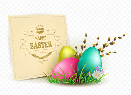 Illustration with square frame and easter eggs, design element.