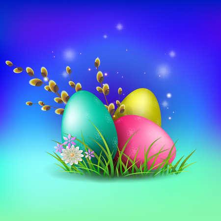 Illustration of a blue shade with a set of Easter eggs, greeting card. Ilustração
