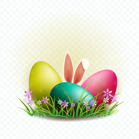 Easter composition with three eggs with a pattern, bunny ears and grass with flowers, design element. Çizim