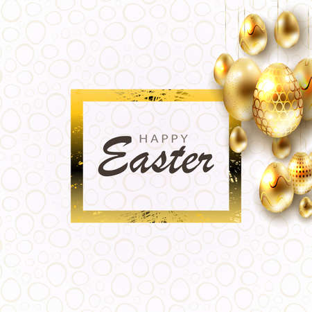Easter composition with eggs of brilliant golden hue and texture frame, greeting card. Çizim