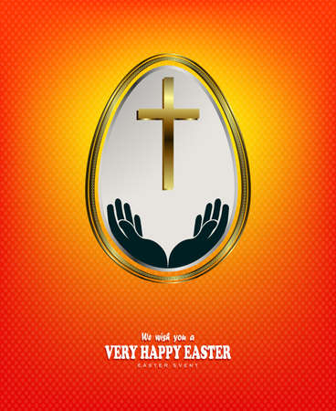 Orange bright textural composition with the silhouette of a white egg with a cross with a gold border, postcard.