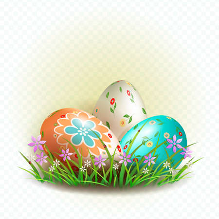 Easter composition with three eggs with a pattern, grass with flowers, design element.