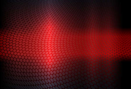 Geometric abstract design in red with a curly grate silhouette.