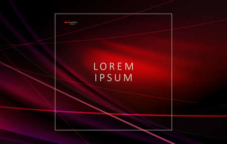 Abstract red dark wavy design with thin thin light lines and frame. Иллюстрация