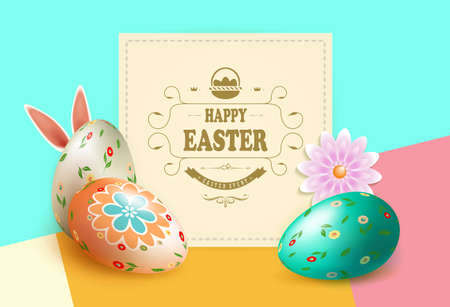 Multicolor composition with square beige frame, Easter eggs, flower and rabbit ears, greeting card.