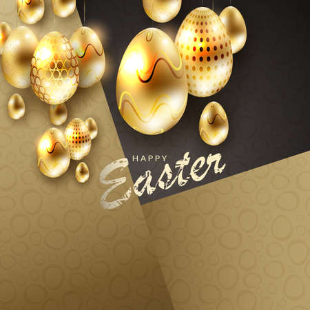 Composition of black and yellow hue with eggs of golden hue with glitter, postcard. Ilustração