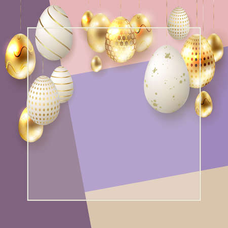Easter composition with lots of gold and white eggs with a pattern on pendants, a postcard.