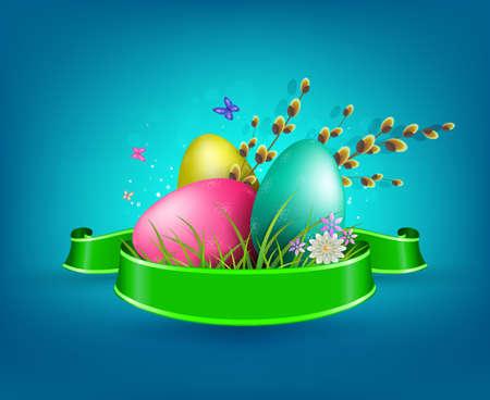 Composición azul con rama de sauce de huevos de Pascua y cinta verde, postal. Ilustración de vector