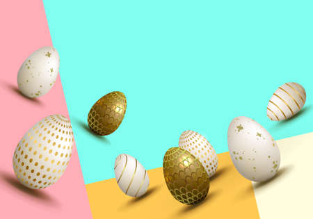Easter variegated multi-colored composition with a set of eggs drawn in the slope, Illustration