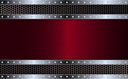 Geometric abstract textural red design with a metallic shiny frame with rivets.