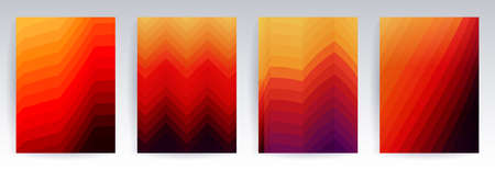 Geometric fire background, colorful halftone gradients, patterns set