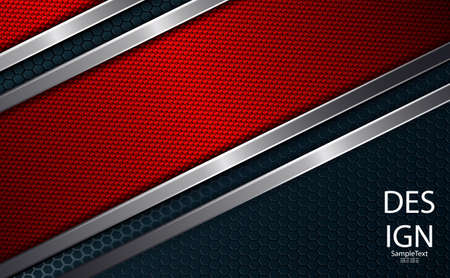 Geometric red abstract dark background with a textured frame and metal edging.