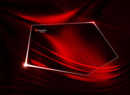 Abstract dark red design as matter with smooth lines and polygonal shiny frame. Иллюстрация