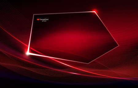 Abstract dark red background like matter with thin stripes and polygonal shiny frame.