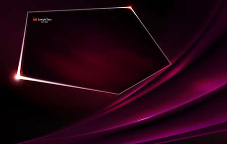 Abstract dark purple background like matter with polygonal shiny frame.