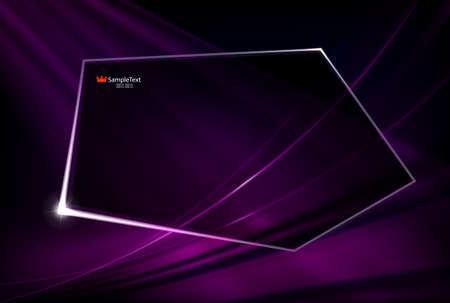 Abstract dark purple design with shiny lines and polygonal transparent frame. Foto de archivo - 123146898