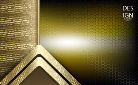 Abstract geometric textural background of golden hue with an arrow, frame and mesh grid.