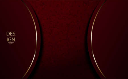 Abstract textural design of dark pink, burgundy color with gold rim.