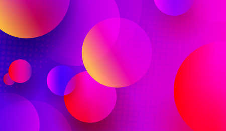 Blue with pink light background with colored circles and abstract geometric shapes.