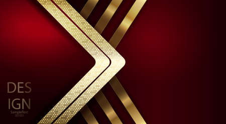 Dark red abstract design with golden arrow with shiny mosaic