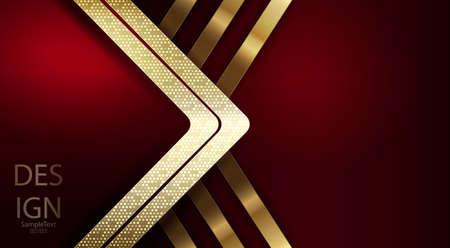 Dessin abstrait rouge foncé avec flèche dorée avec mosaïque brillante