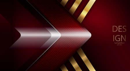 Abstrait rouge foncé avec flèche brillante et rayons dorés Vecteurs