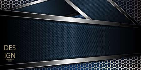 Dunkler Hintergrund des abstrakten Gitters mit einem blauen Rahmen der Beschaffenheit und glänzendem Rand Vektorgrafik