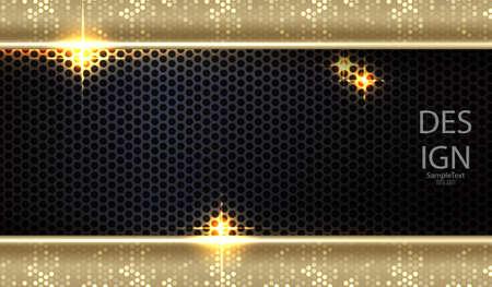 Geometric dark mesh design with two glitter gold frames