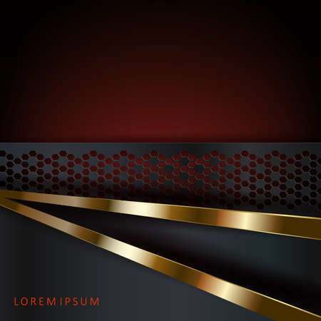 Abstract dark red design with a patterned frame and gold stripes