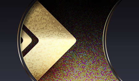 Abstract dark background with a gold colored arrow and sparkling mosaic Vectores