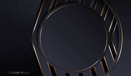 Abstract dark elegant design with a round frame and gray arrows with a gold edge Векторная Иллюстрация