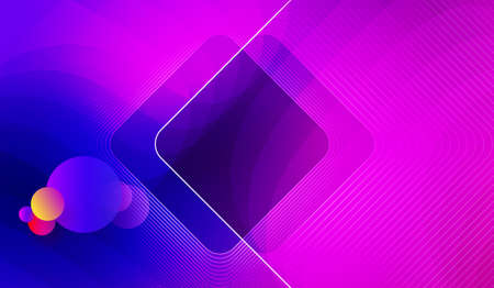 Abstract blue with violet color background with circles and square frame Векторная Иллюстрация